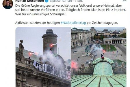 Identitäre auf der Hofburg - Aktion während Kranzniederlegung