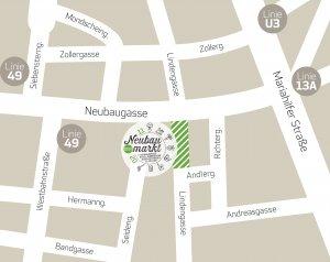 Das Marktgebiet in der Lindengasse/Ecke Neubaugasse