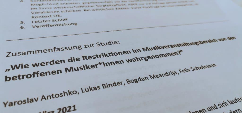 Forschungsarbeit - Restriktionen im Musikveranstaltungsbereich