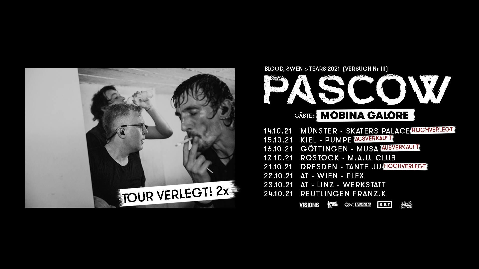 """Events Wien: Pascow // Wien """"Blood, Swen & Tears"""" 2021 (neues Datum!)"""