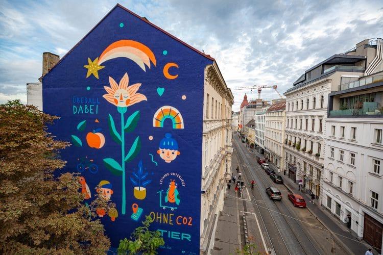 Streetart Wall Warda Network Tier Autofreier Tag